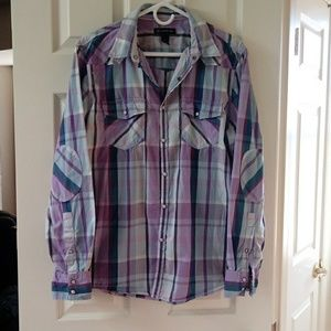 Wester plaid snap front shirt